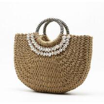 ANNA gyönyörű natúr táska kagyló díszítéssel szép füllel
