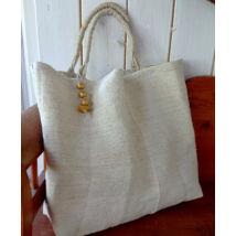 MARISOL antik zsákvászonból óriás drapp táska egyedi füllel arany golyócskákkal díszítve