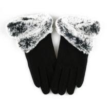 GLAMI fekete textil kesztyű szőrrel díszítve