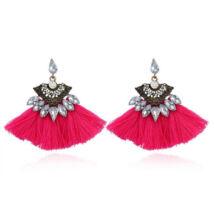 Kövekkel díszített  rózsaszín rojtos logós fülbevaló