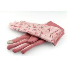 Bájos rózsaszín kesztyű virág és csipke díszítéssel