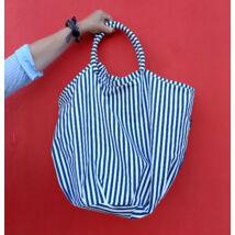 LUA csíkos kék óriás nagy textil táska patent zárral