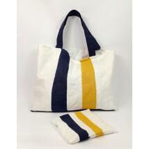 MARISOL Textil táska sötétkék sárga csíkokkal kis neszesszerrel
