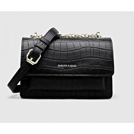 BERNA fekete pici modern táska lánccal sok rekesszel