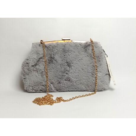 CARPISA szürke szőrős kis táska lánccal belül selyem béléssel