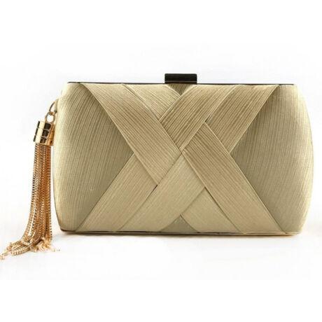 Exkluzív női táska selyem anyaggal retesz csattal  hosszú lánccal