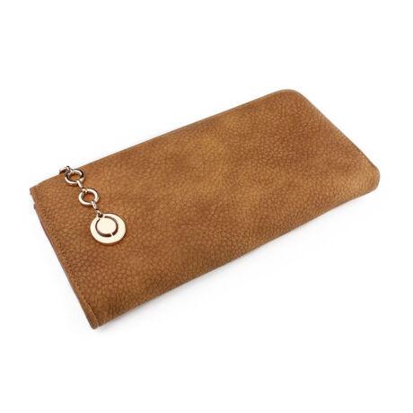 Porto női barna pénztárca cipzáron díszítéssel