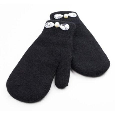 Perla elegáns fekete kesztyű gyöngy és kő díszítéssel