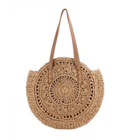 MONIK fonott kerek natúr gyönyörű táska barna színben