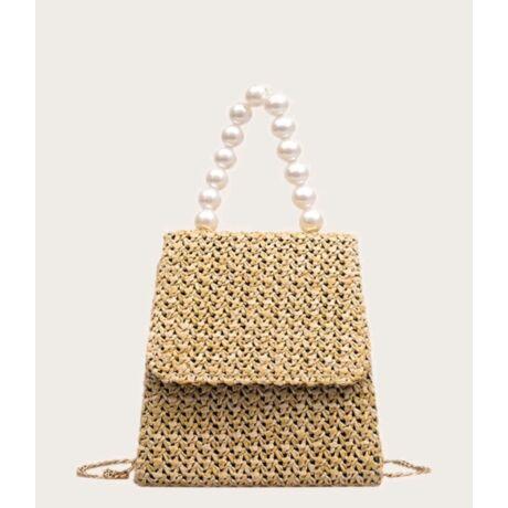 EMMA elegáns szalma pici táska gyöngyös füllel lánccal