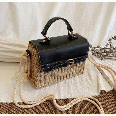 LOLA pici fonott natúr fekete táska állítható pánttal