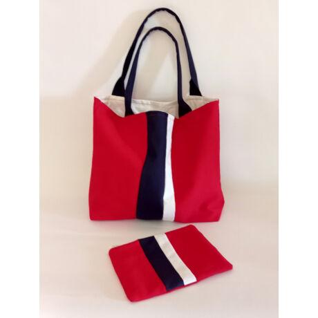 MARISOL Textil táska piros fehér sötétkék színekkel és neszesszerrel