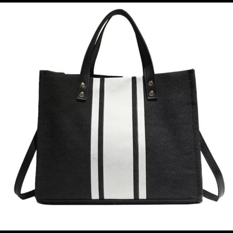BONITA lenvászon natúr nyári táska fekete