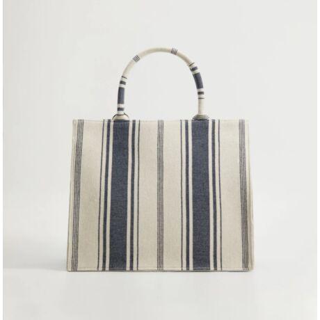 MAMBO textil nagy táska csíkokkal merev tartással