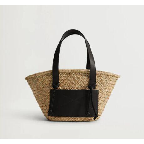 MANUEL natúr szalma táska zsebbel és hosszú vállpánttal