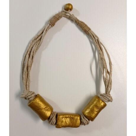 MARISOL mediterrán natúr kötél nyaklánc arany színben