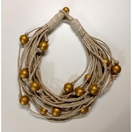 MARISOL mediterrán natúr kötél nyaklánc arany golyókkal díszítve
