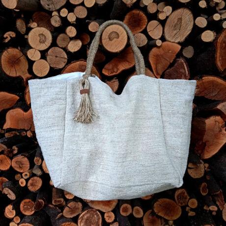 MARISOL Antik zsákvászonból nagy len drapp táska egyedi füllel
